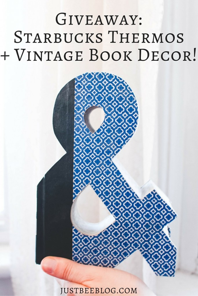 Giveaway - enter to win a Starbucks thermos + vintage cutout book letter!